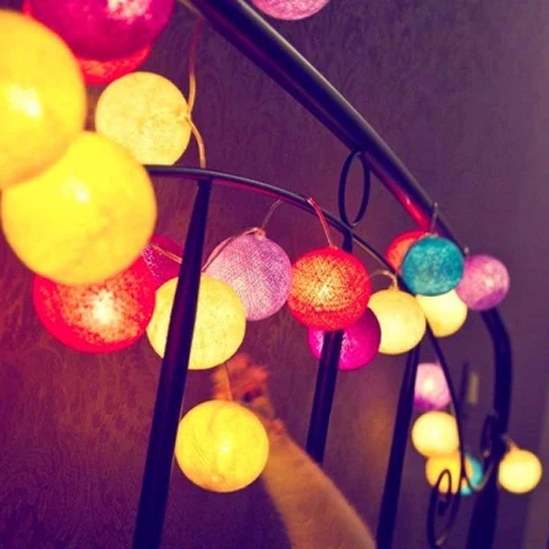 Тайский ватный шарик света Строка Фея Рождество огни декоративные гирлянды свадебные принадлежности вилла забор Beach Party Аксессуары