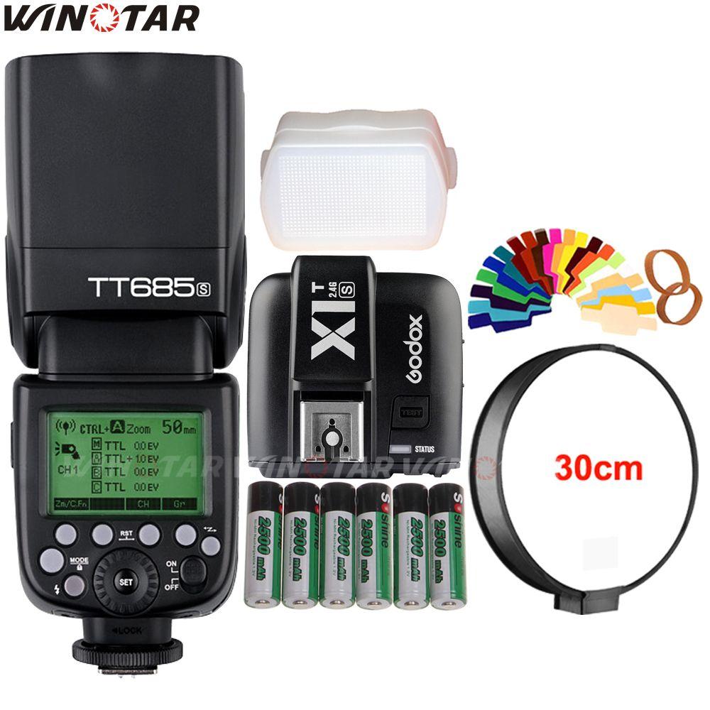 Godox TT685S 2.4G HSS 1/8000s TTL Flash Speedlite + X1T-S Trigger+ 6x 2500mAh Battery for Sony A77II A7RII A7R A7000 A6500 A6300