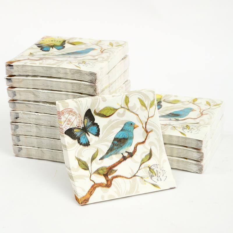 Cóctel de papel napkins-20pcs 25x25 cm 3 capas azul servilletas servilletas de papel elegante de la vendimia de aves para decoupage-4NC4106