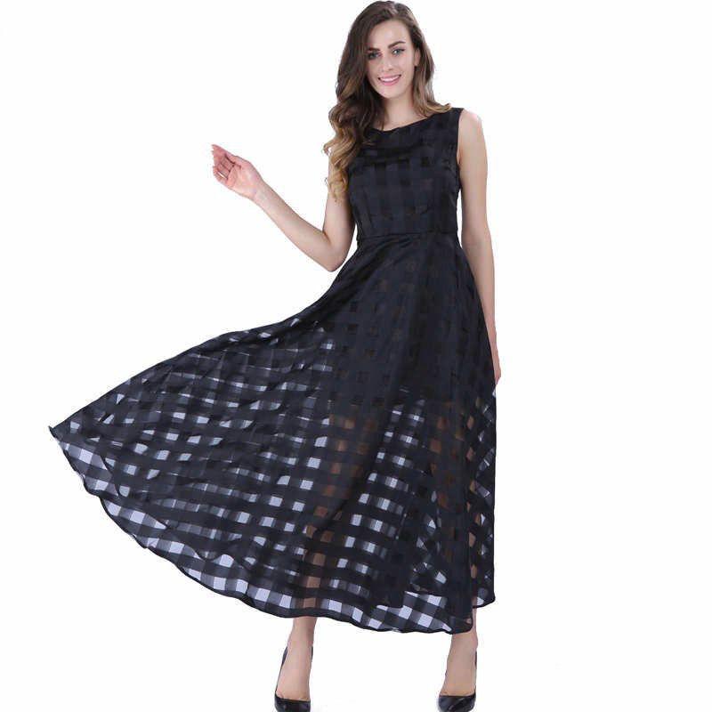 Sisjuly Femmes Noir Pull Robe Vintage Femme Sans Manches Évider Fille Robe Femmes Col Rond Cheville-Longueur Filles Robe