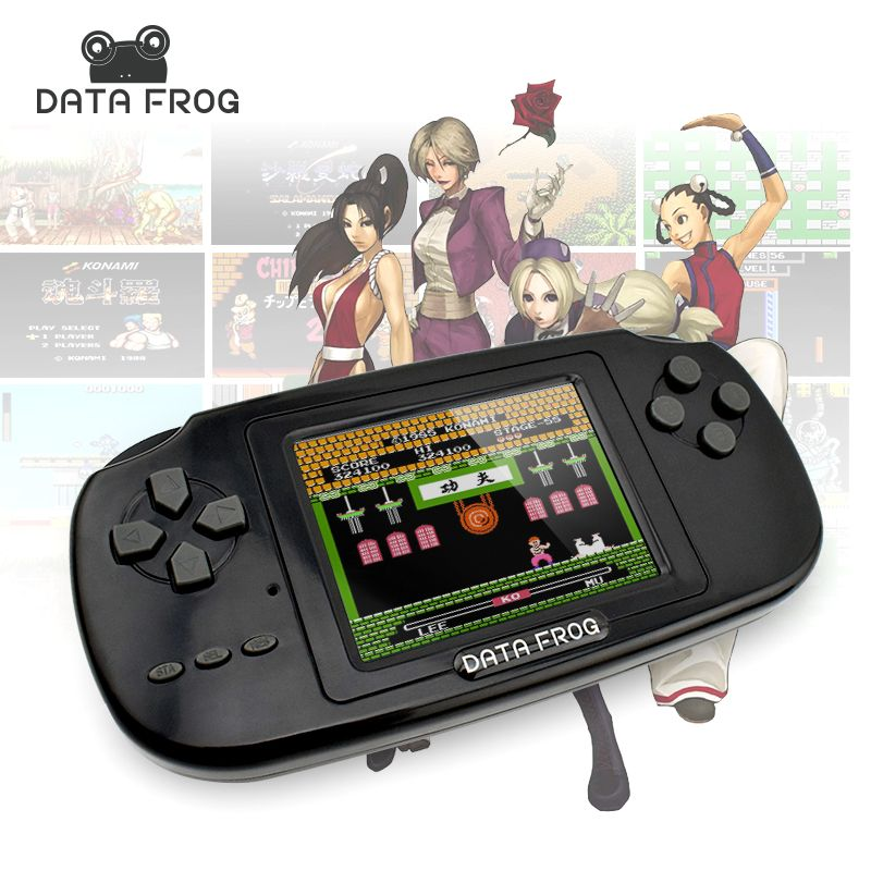 2017 Data Frog Portable Handheld Game Players Gaming <font><b>Consoles</b></font> Built In 168 Classic Games For Kids Best Gift Video Game