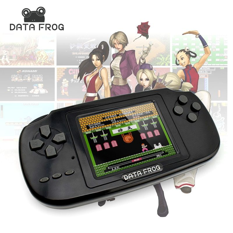 2017 Data Frog Portable <font><b>Handheld</b></font> Game Players Gaming Consoles Built In 168 Classic Games For Kids Best Gift Video Game