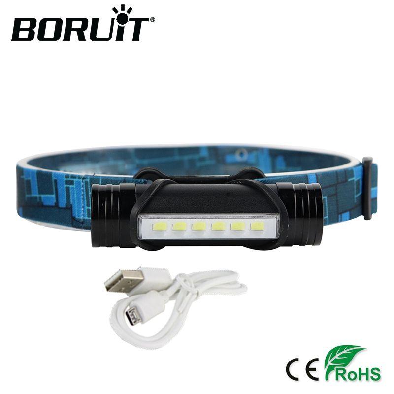 BORUiT 1000 lumens 6 Led Mini Projecteur 3-Mode batterie externe Phare Rechargeable Lampe De Poche Torche De Chasse Intégré 18650 Batterie