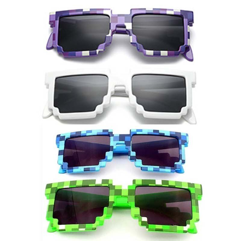 4 color! Fashion  Sunglasses Kids cos play action Game Toys Minecrafter Square Glasses with EVA case gifts for Men Women