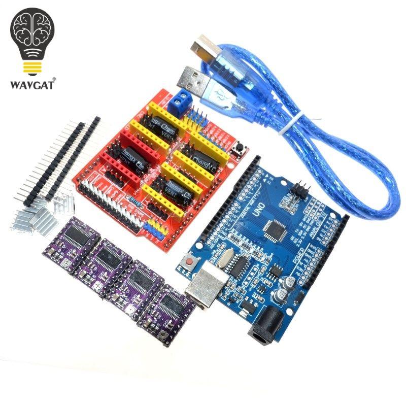 Livraison gratuite CNC bouclier V3 machine de gravure 3D imprimante 4 PCS DRV8825 pilote carte d'extension pour Arduino + UNO R3 avec USB câble