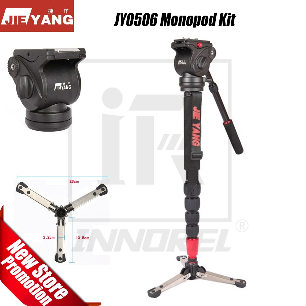 JIEYANG JY-0506 JY0506 Aluminum Alloy Professional Monopod Video tripod for camera with Fluid Hydraulic Damping Head Carry Bag