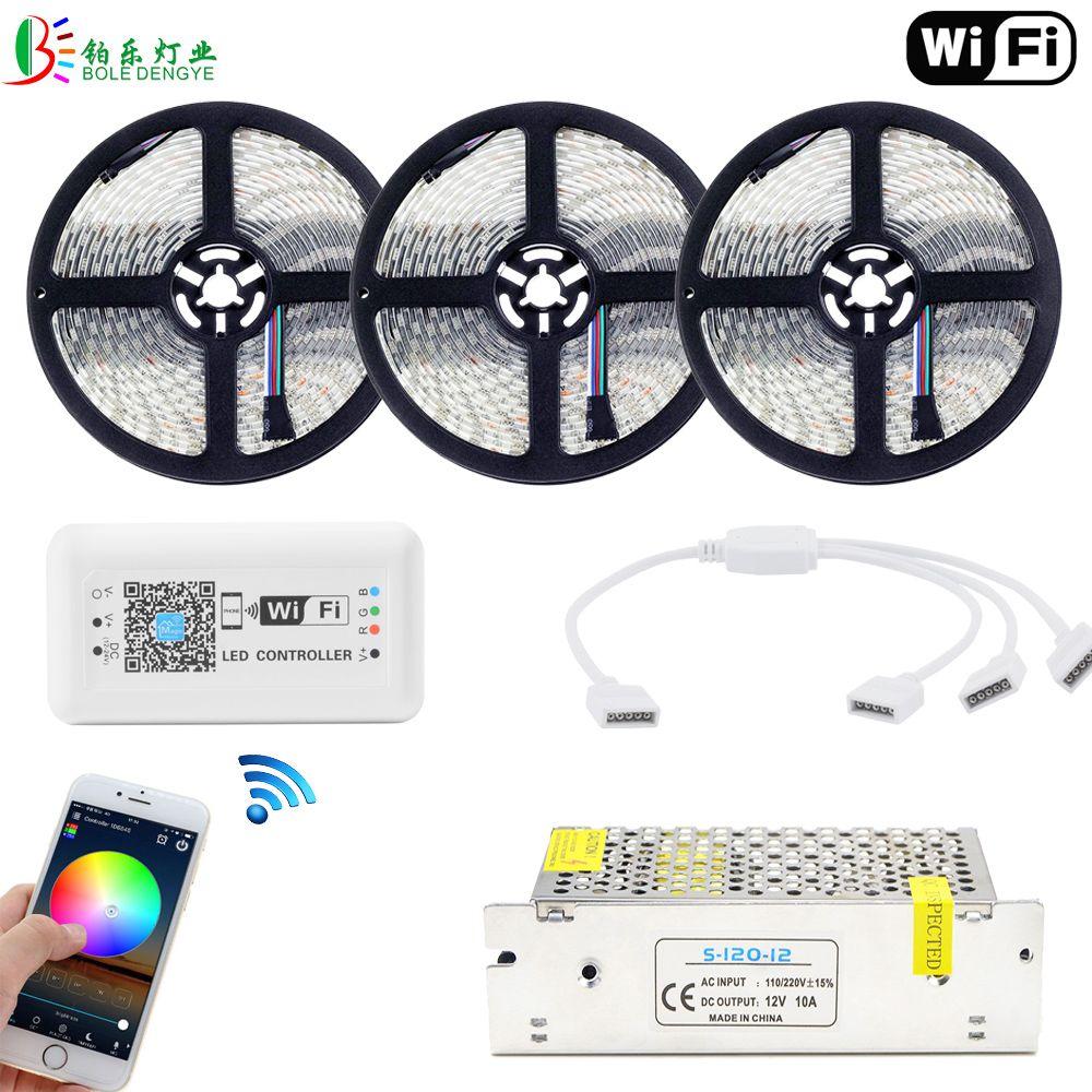 BOLEDENGYE 15M 5050 RGB LED Strip WIFI Controller 60LED/M Waterproof WIFI Control LED Light Tape 10M 5M DC12V Power Supply