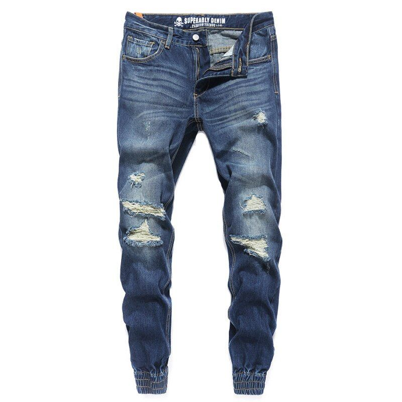 Fashion Streetwear Mens Jeans Blue Color Frayed Hole Ripped Jeans Men Jogger Pants Slim Fit Leg Open Ankle Banded Jeans Trousers