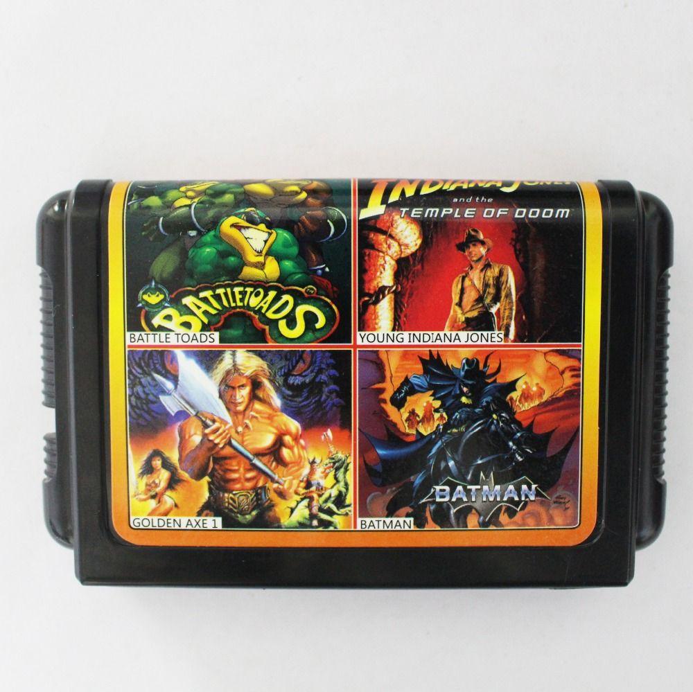 Venta caliente 4 En 1 No Repetido 16 bit Sega MD Tarjeta de Juego Para los sistemas NTSC