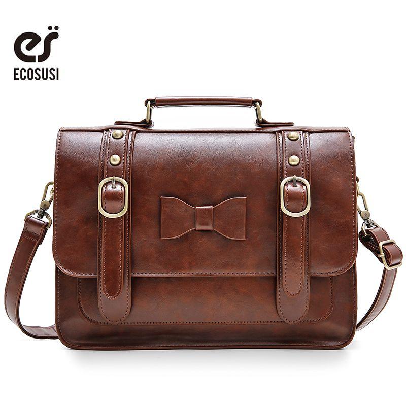 ECOSUSI 13.2 pouces rétro femmes sac de messager en cuir PU sacs femmes sacs à bandoulière marque de luxe sacs dames épaule Bow sacs à main
