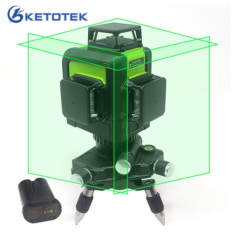 3D Laser Level 12 lines US/EU Plug Self-Leveling 360 Horizontal Vertical Green Laser Beam Line Rechargeable Battery Pulse Mode