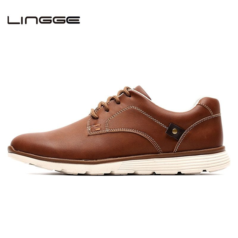 LINGGE New Leather Men's Flats, Design Winter Fur Style Men Shoes, Fashion Lace Up Casual Male Shoes #IL007-2