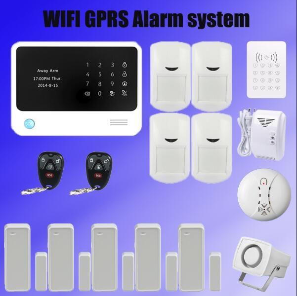 433 mhz wifi GSM Alarmanlage GSM GPRS SMS Home Security Alarm System mit Drahtlose RFID Tastatur rauchmelder Gas detektor