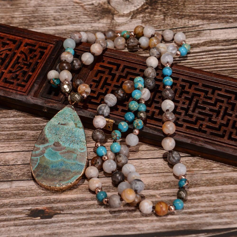 Women's Fashion Handmade Boho Necklace Mix Natural Stones Big Teardrop Pendant Necklace Lariat Beads Knotted Bohemia Necklace