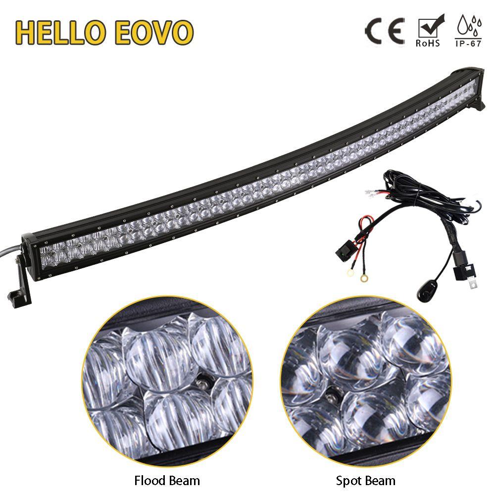 Hello eovo 5D 52 дюймов Изогнутые Светодиодный свет бар для вождения внедорожнике тягач 4x4 внедорожник ATV светодиодный бар с переключателем монтаж...