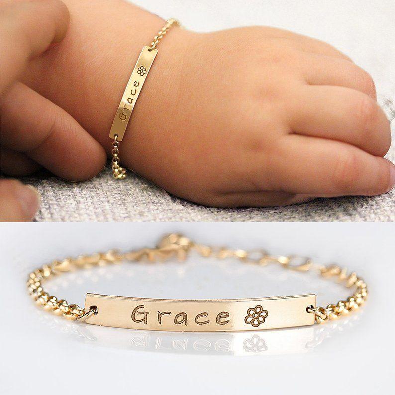Bracelet personnalisé nom de bébé en acier inoxydable réglable bébé enfant en bas âge enfant ID Bracelet-personnalisé fille garçon cadeau d'anniversaire BFF