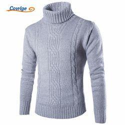 Covrlge 2019 Male Sweater Pullover Slim Warm Solid High Lapel Jacquard Hedging British Men's Clothing Mens Turtleneck MZM030