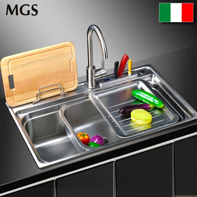 Italy MGS stainless steel sink 304 multifunctional mobile basin kitchen vegetable washing basin double basin can move