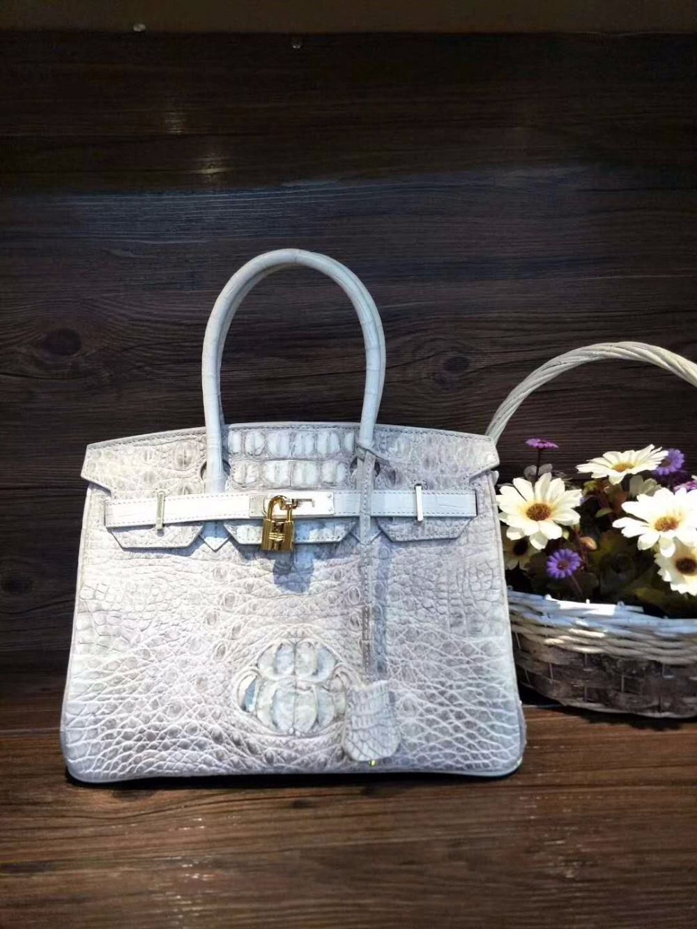 2018 fashion Himalaya white Crocodile head skin Leather Tote Top-handle women Handbag 100% Real/Genuine Crocodile Skin lady bag