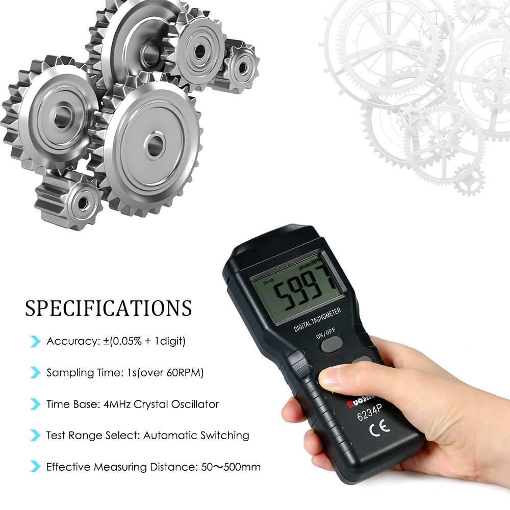 RuoShui Digital Photo Tachometer Non-Contact Tach Range 2.5~99999RPM LCD Display Motor Speed Meter with 3pcs Reflective Tape