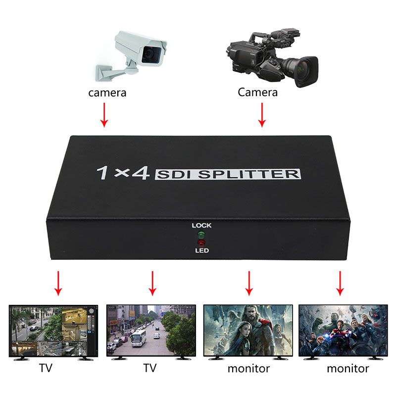 SDI Splitter 1X4 SDI Video Converter 4 Port Unterstützung SD/HD/3G-SDI 1080 P mit Power adapter für Projektor Monitor DVR SDI System