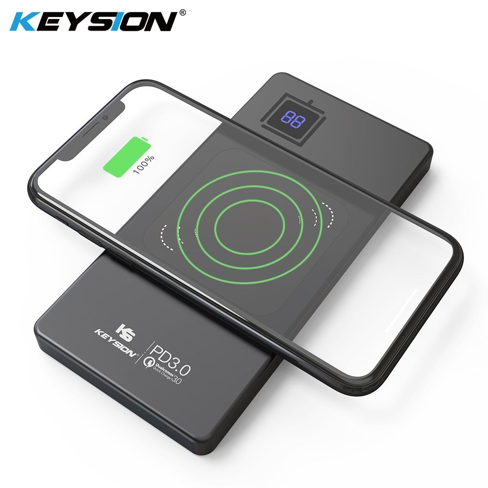 KEYSION 10000mAh Metal Type-C PD/QC3.0 Power Bank 15W 10W 7.5W Fast Qi Wireless Charger Battery for iPhone XS Max XR Mate 20 Pro