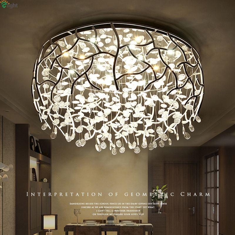 Nordic Chrome Metal Dimmable Led Ceiling Lights Lustre Crystal Bedroom Led Ceiling Lamp Living Room Led Ceiling Light Fixtures