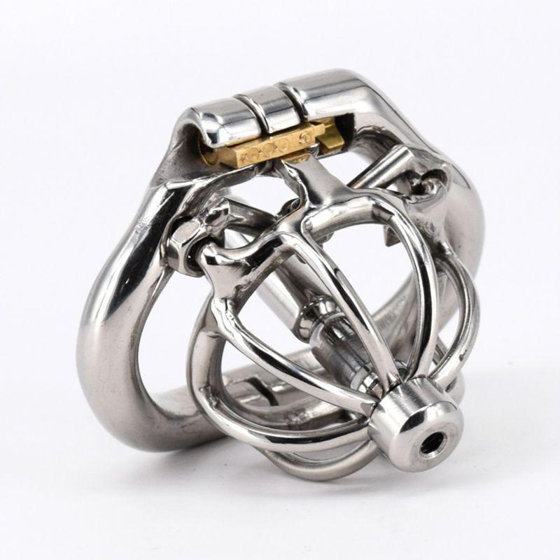 Cage de chasteté masculine Cage à coq en acier inoxydable avec dilatateur de civière urétrale Super petit anneau de verrouillage de pénis de dispositif de chasteté