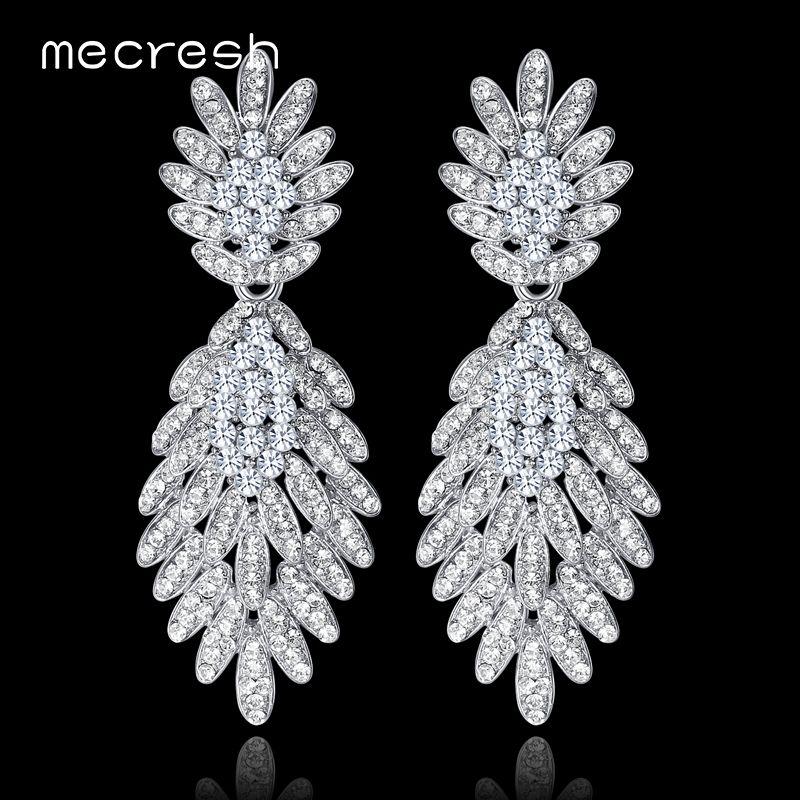 Mecresh Plant Long Drop Earrings for Bride Silver Color Crystal Rhinestone Wedding Engagement Hanging Earrings Jewelry MEH945