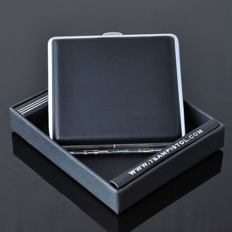 Special offer! Leather 20 Filter Business Black Cigarette Case Box With Metal300B
