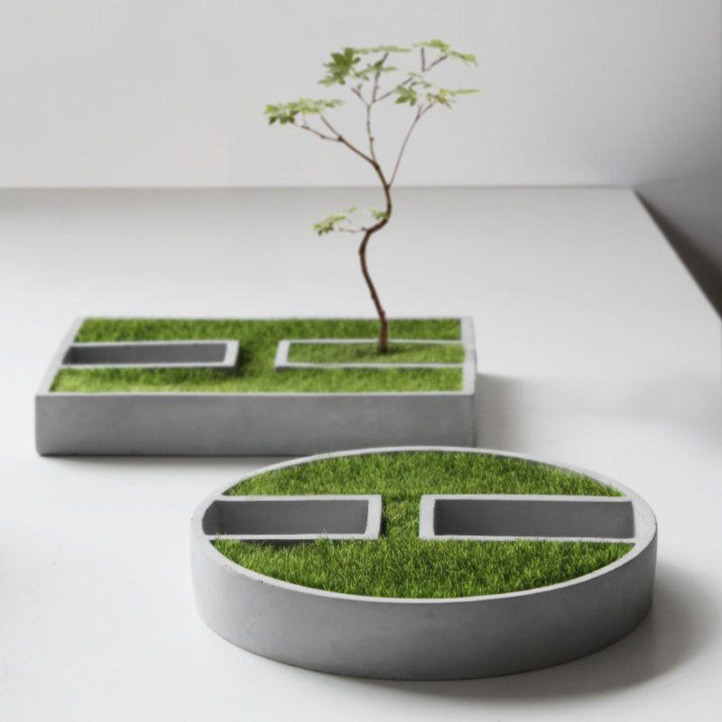 Tiny gebäude blumenform DIY kerzenhalter silikonformen pflanzer zement runde topf formen Platz vase form