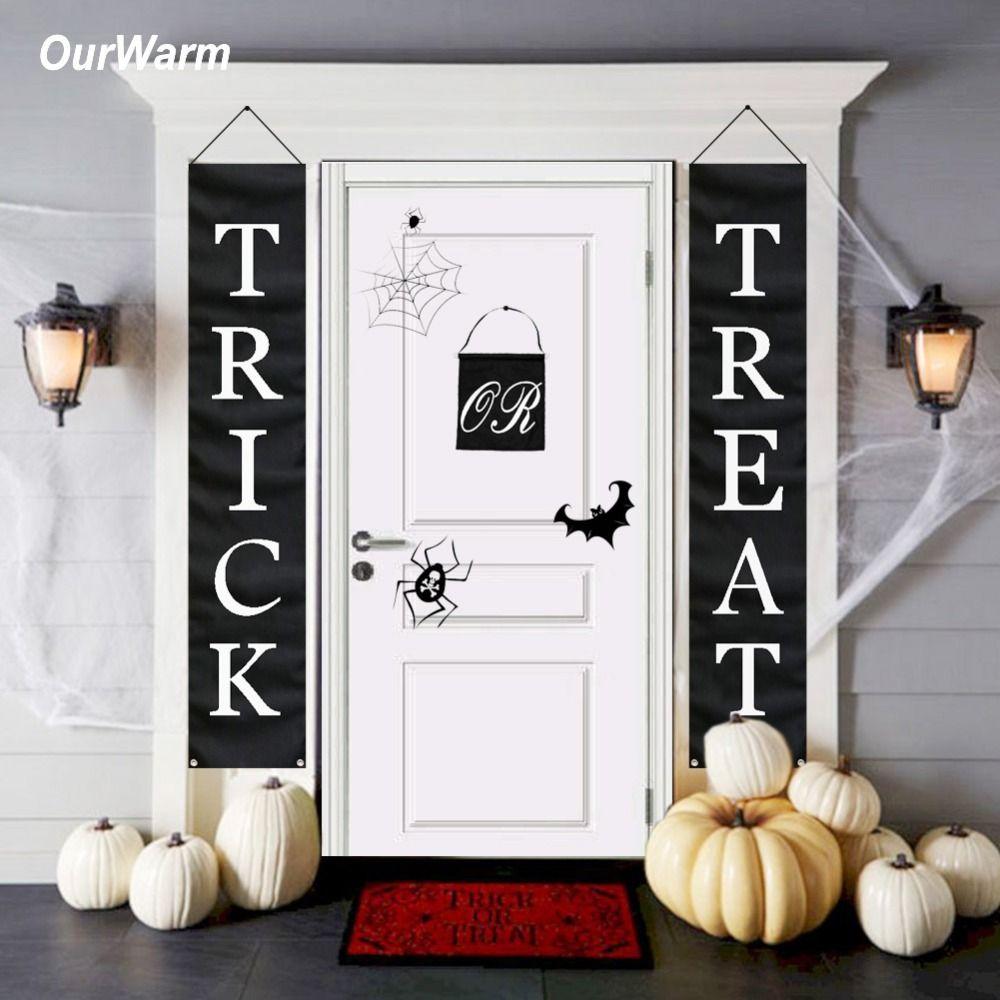 OurWarm Halloween bannière astuce ou traiter maison porte signe fête décoration brillant tricoté Polyester noir avec bannière blanche