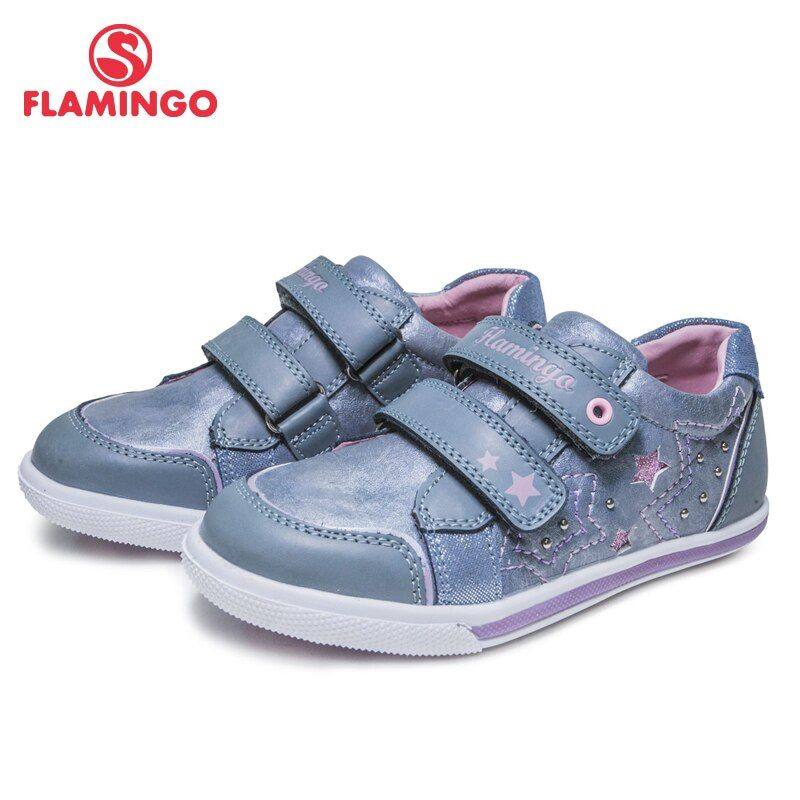FLAMINGO 2018 New Arrival Print Spring& Summer Breathable Hook& Loop Outdoor sneakers for girl Free shipping 81P-XY-0651