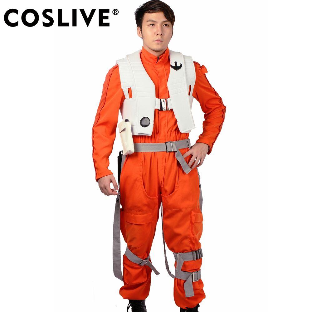 Coslive Star Wars Poe Dameron Costume X-Wings Uniform Fighter Pilot Suit Battle Props Adult Size
