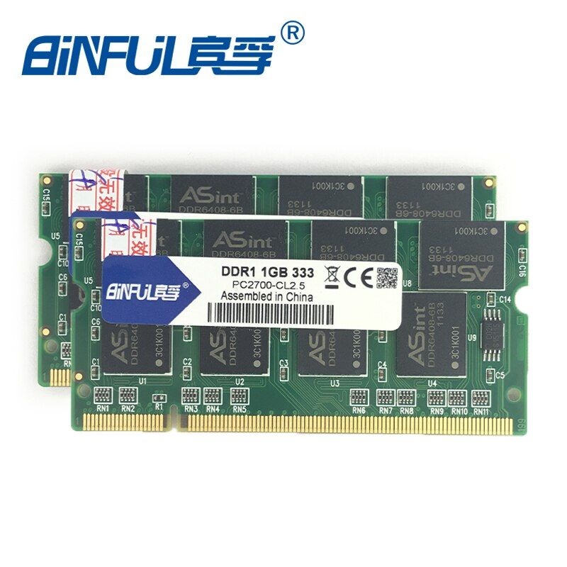 Binful ddr 2 GB (Kit de 2,2X1 GB) PC-2700 DDR 333 mhz mémoire ram 200PIN ordinateur portable SDRAM Notebook