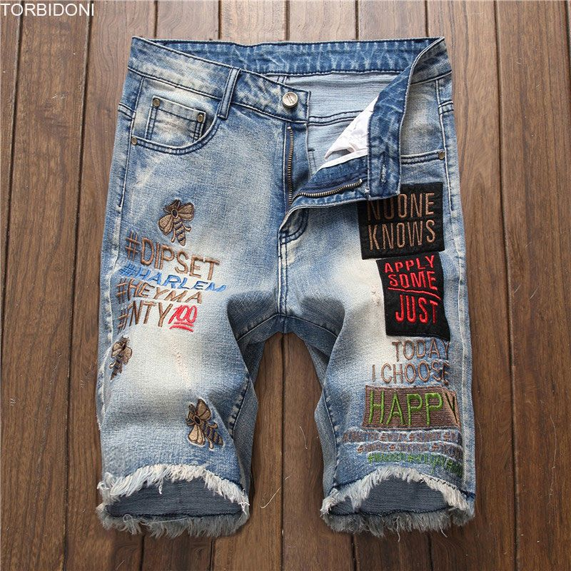 Male Straight Loose Shorts Men Denim Shorts Fashion Letter Embroidery Bermuda Homme Washed Denim Short Bee Jeans Shorts Homme