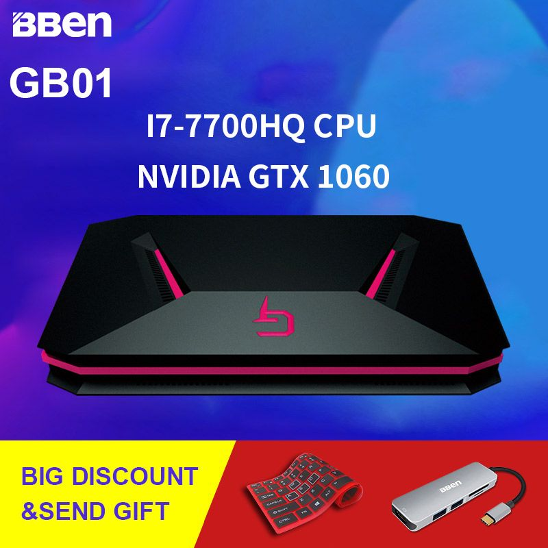 BBEN GB01 Box Gaming Computer Windows 10 Intel I7 CPU NVIDIA GTX1060 16G DDR4 256G SSD 1T HDD RJ45 WIFI BT4.0 Mini Computer