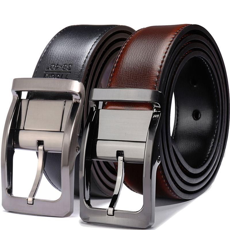 Ceinture en cuir véritable pour hommes, ceinture réversible pour hommes noir/marron et noir/Cognac 3.3cm de large ceintures pour hommes grands et grands