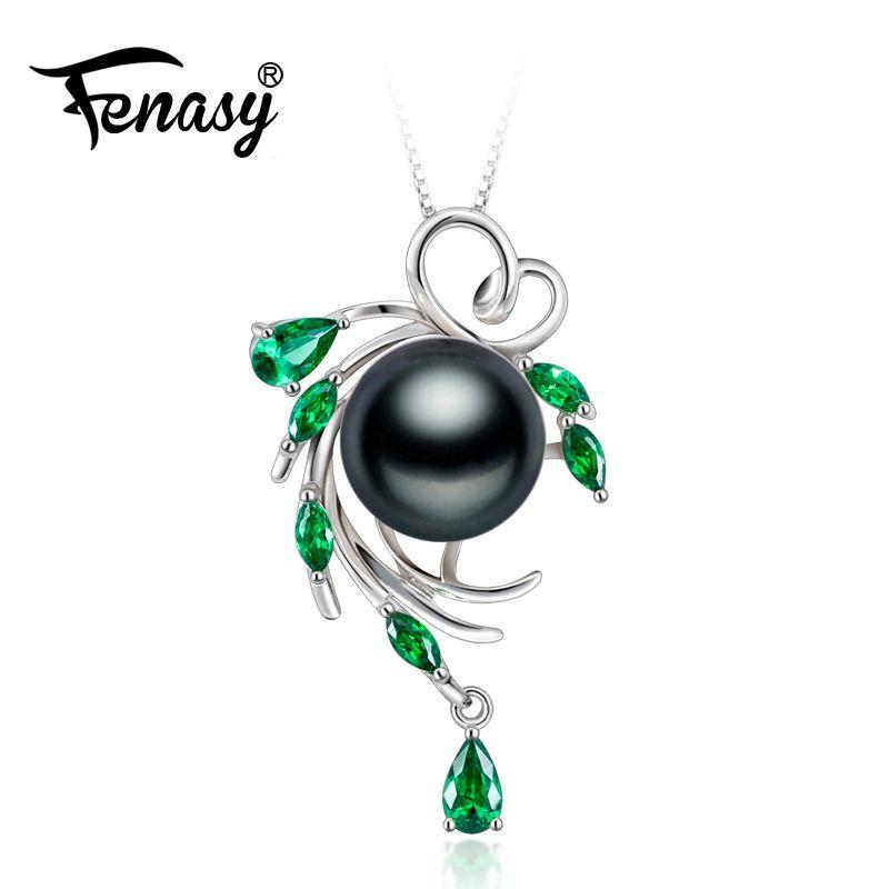 FENASY 925 sterling silver flower necklace,pearl jewelry Bohemia necklace,Pearl pendant necklace for women beryl Luxury Style