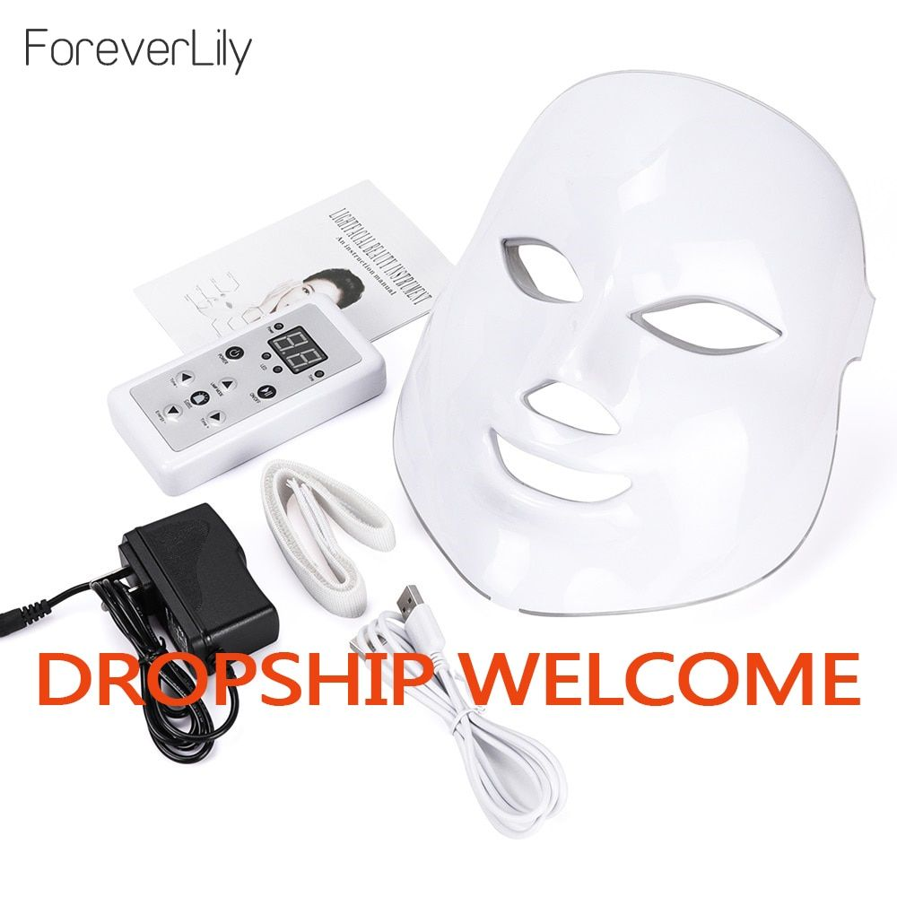 Led Mask Photon Electric LED Facial Mask 7 Colors Led with Neck Skin Rejuvenation Anti Wrinkle Acne Photon Therapy Salon tool