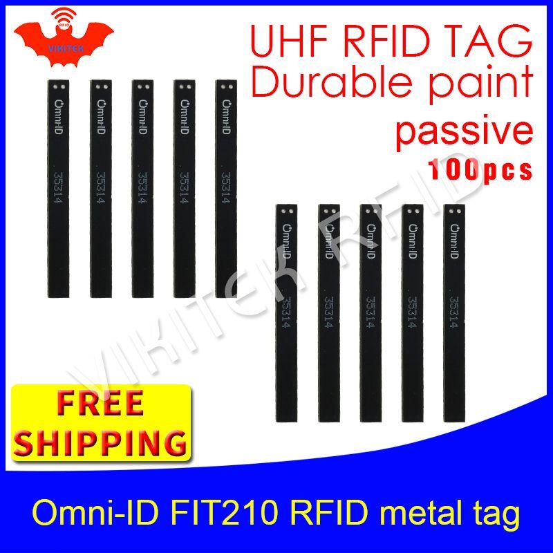 Uhf-rfid-metall-tag omni-ID Fit210 915 mt 868 mhz Alien H3 EPC 100 stücke freies verschiffen haltbare farbe lang und dünn passive RFID-tags