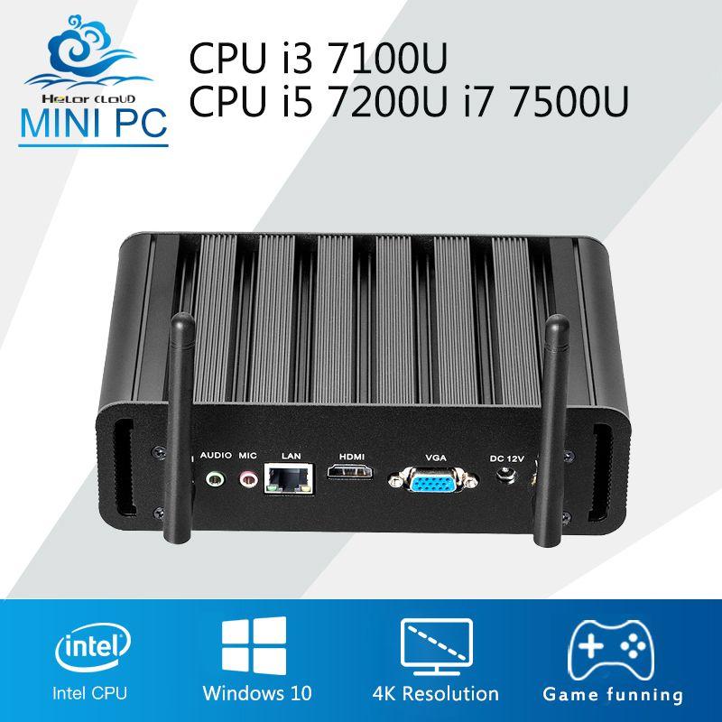 Mini PC Windows 10 OS 240 GB SSD Mini Computer Desktop Core i7 7500U i5 7200U i3 7100U 4 Karat HTPC TV Box Mini Komputer USB3.0 WIFI