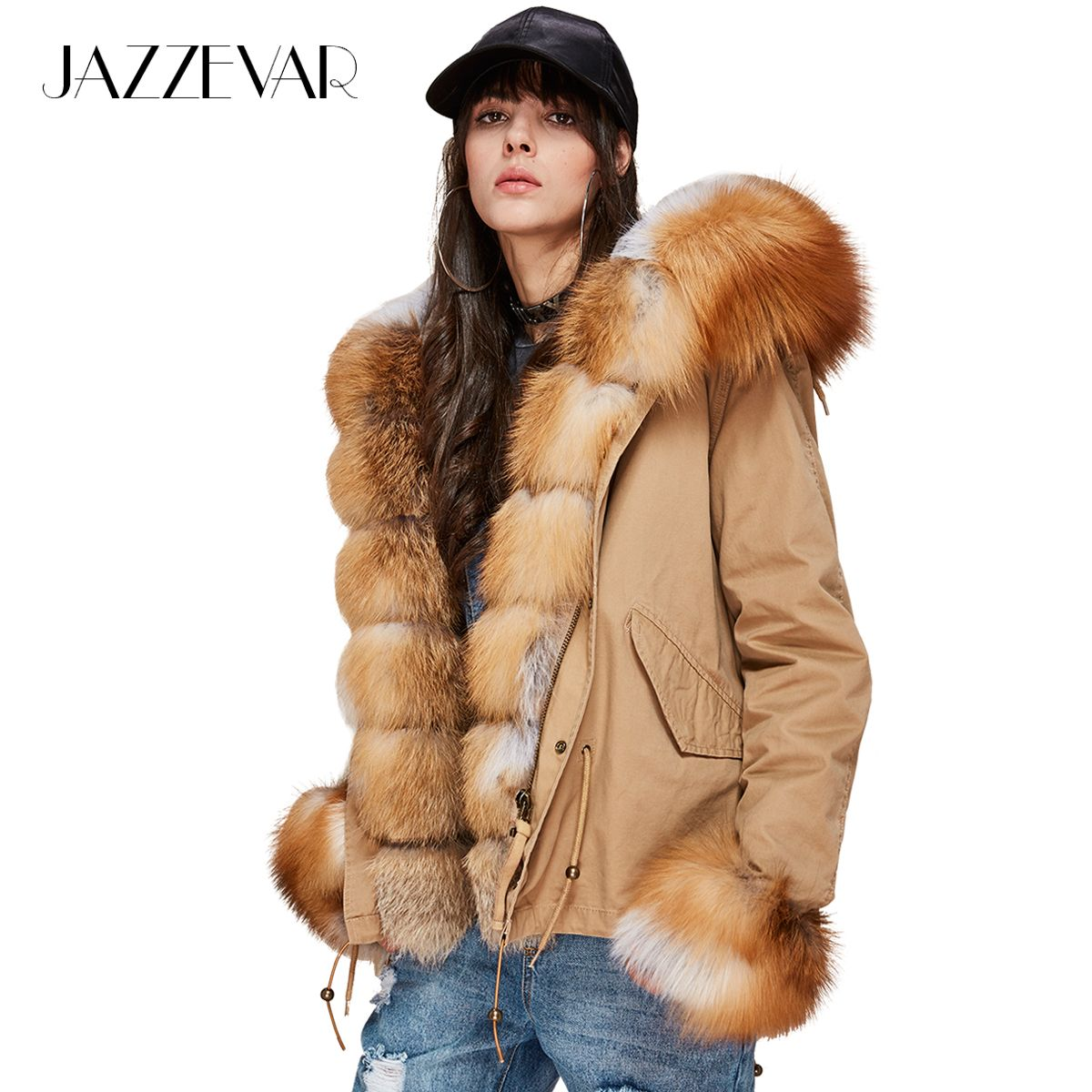JAZZEVAR Neue Mode frauen Luxuriöse Große Echt Fox Pelz Kragen Manschette Mit Kapuze Mantel Kurze Parkas Outwear Winter Jacke