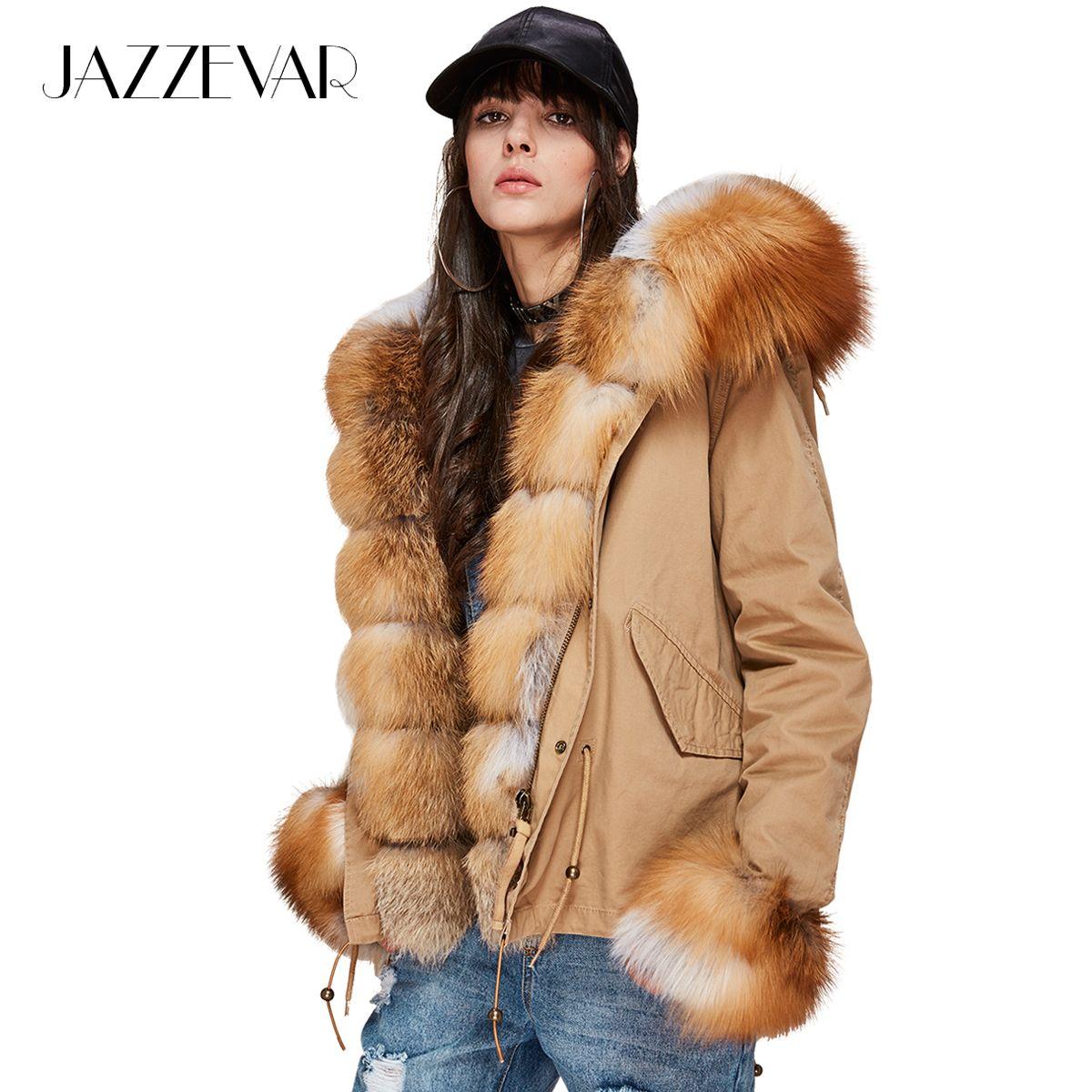 JAZZEVAR New Fashion Women's Luxurious Large Real Fox Fur Collar Cuff Hooded Coat Short Parkas Outwear Winter Jacket