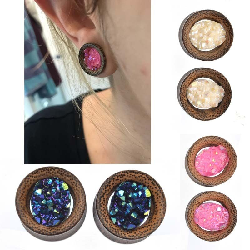 KÖRPER PUNK 2 Stücke Flesh Tunnel Ohr-stecker Lava Holz Piercing Rosa/Blau/Weiß Ohr Expander 6mm-16mm Pircing Körperschmuck PLG 050