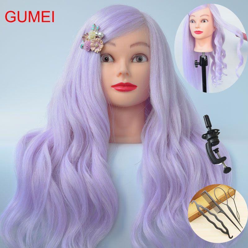 Neue Stil 85% Echt Lila Haar Training Mannequin Kopf Für Friseure 60 CM Mannequin Kopf Mit Haar Professionelle Styling Kopf