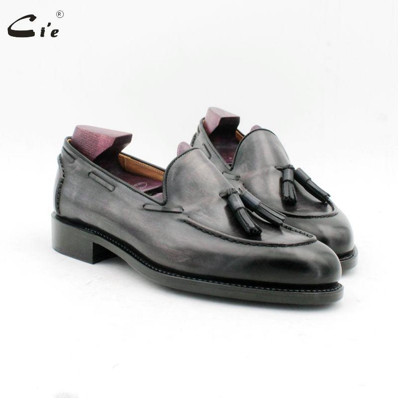 Cie runde kappe hand nähte quasten patina grau goodyear boot schuh handgemachten männer slip-on casual kalbsleder männer loafer187