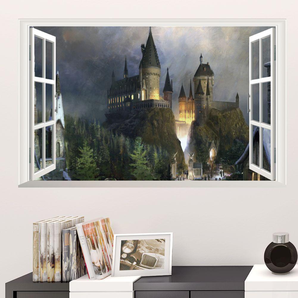 Harry Potter Poster 3D Window Decor Hogwarts Decorative Wall Stickers Wizarding World School Wallpaper For Kids Bedroom Decal