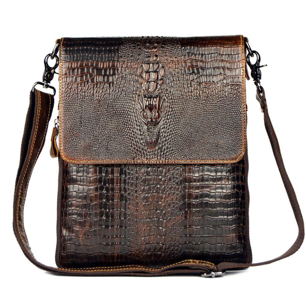Sac en cuir véritable pour hommes Crocodile Alligator hommes d'affaires sac de voyage sacs à bandoulière homme Ipad tablette PC sac à main
