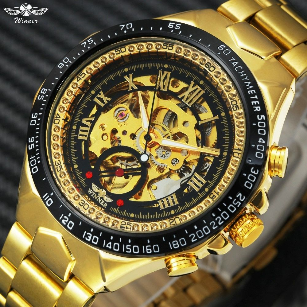 2018 WINNER Men Gold Watches Automatic Mechanical Watch Male Skeleton Wristwatch Stainless Steel Band Luxury Brand Sports Design